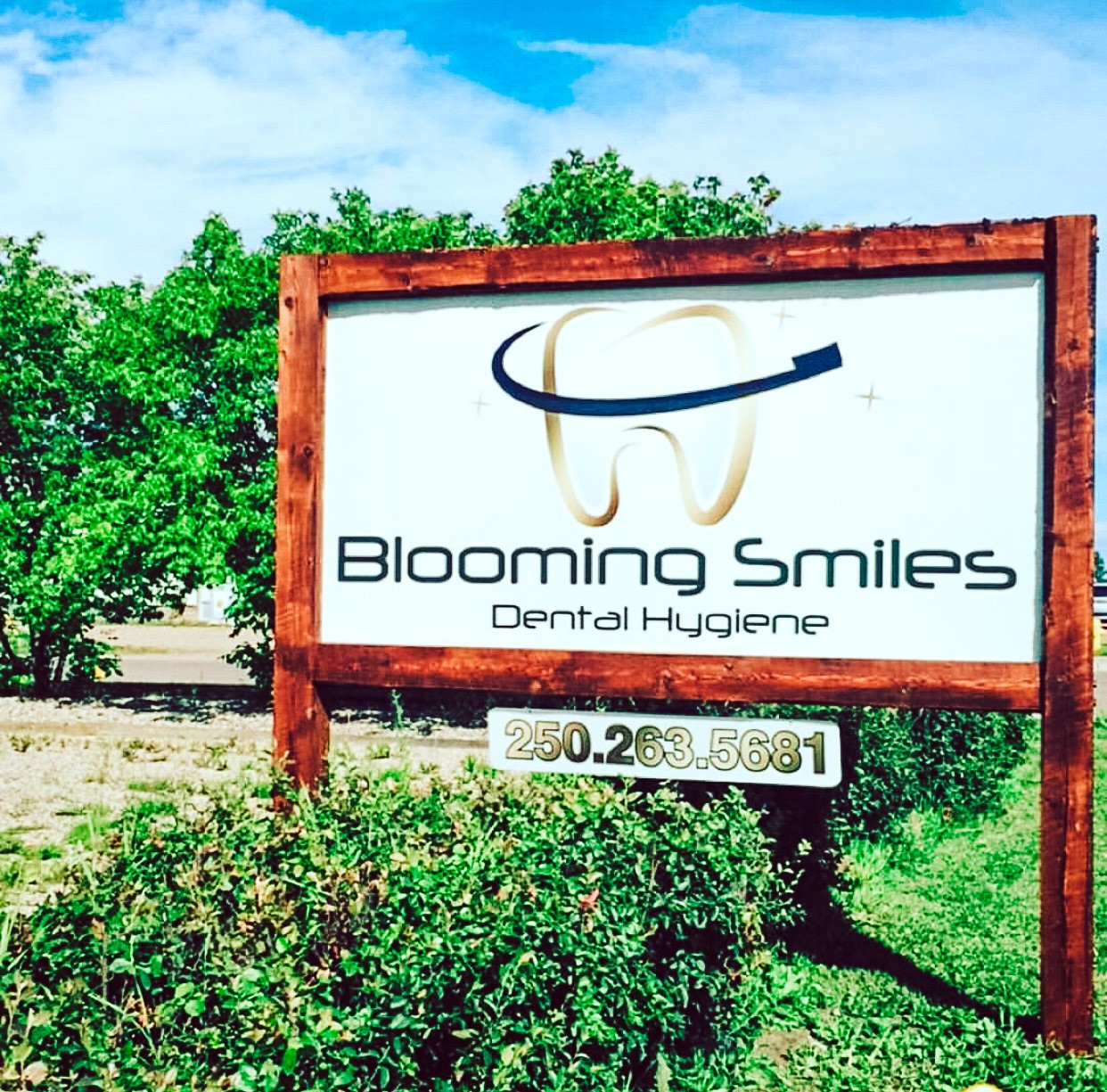 Blooming smiles roadside signboard